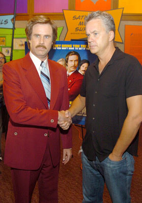 Premiere: Ron Burgundy (Will Ferrell) and Tim Robbins at the New York premiere of Dreamworks' Anchorman - 7/7/2004