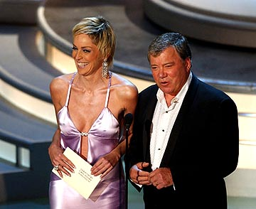 Sharon Stone and William Shatner Presenters for Outstanding Writing for a Drama Series Emmy Awards - 9/19/2004