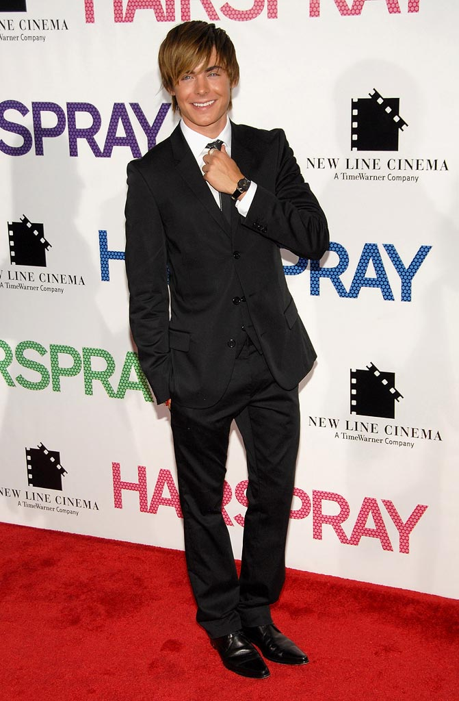 "Zac Efron arrives at the ""Hairspray"" New York City Premiere."