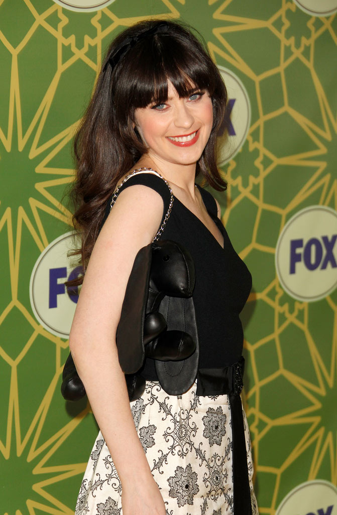 "Zooey Deschanel (""New Girl"") attends the 2012 Fox Winter TCA All-Star Party at Castle Green on January 8, 2012 in Pasadena, California."