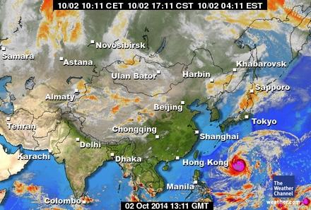 東アジアの衛星写真