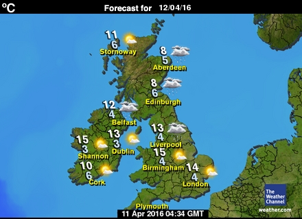 United Kingdom forecast map