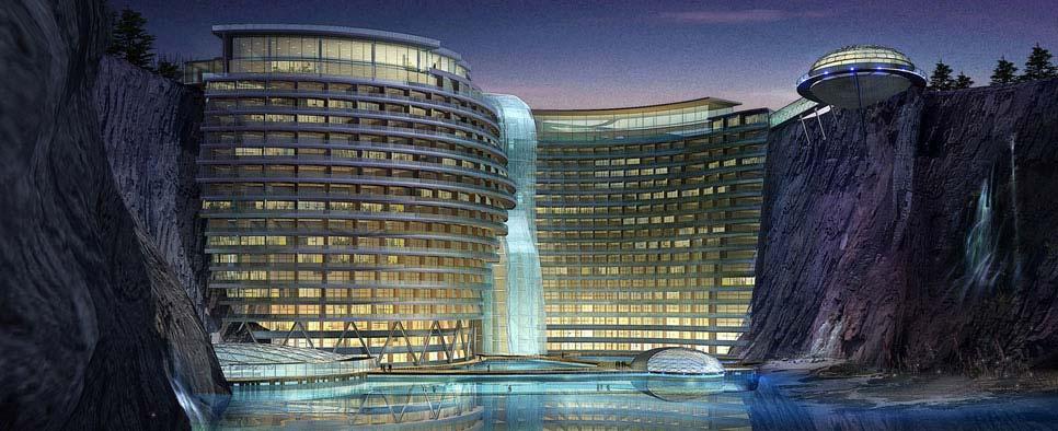 hotel subterráneo y subacuático en china