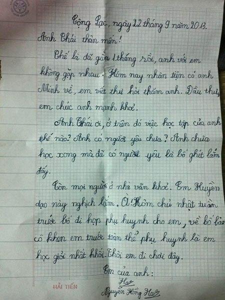 Bức thư tay của cô bé học lớp 3 khiến dân mạng xôn xao