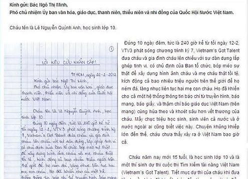 Ảnh chụp màn hình bức thư Quỳnh Anh đăng trên website trường quốc tế.