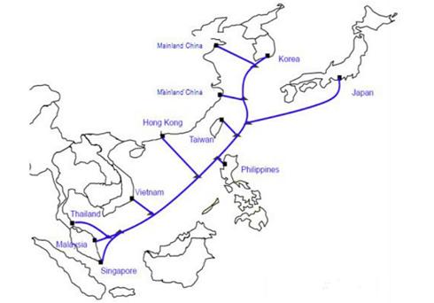 Sơ đồ dự án cáp quang biển có sự tham gia của Viettel và VNPT. Ảnh: SubmarineNetworks
