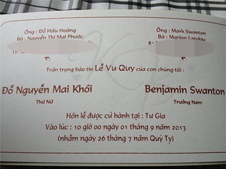 Lộ thiệp cưới của ca sĩ Mai Khôi - 1