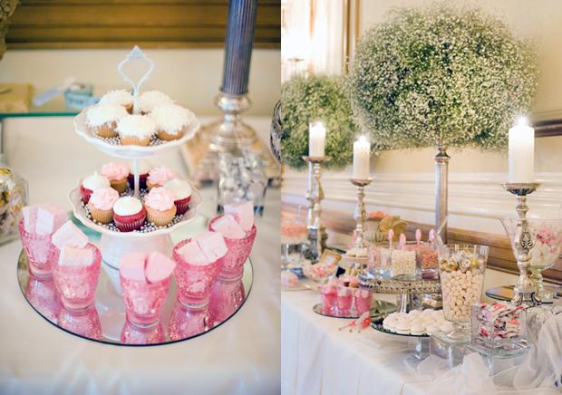 Khu vực bánh kẹo được tô điểm bằng những bình hoa baby cao ấn tượng.