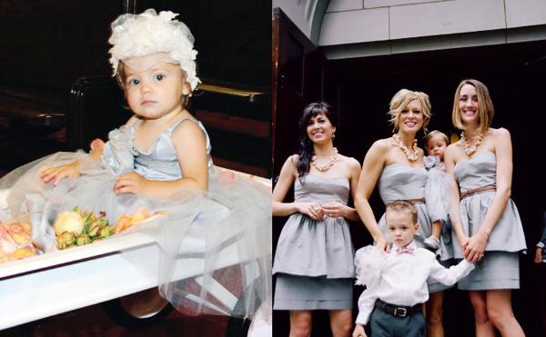 Các cô phù dâu xinh diện váy ngắn hiện đại màu ghi xám.
