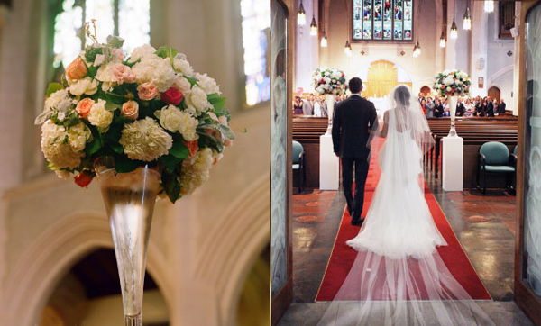 Trước tiên đôi uyên ương cử hành hôn lễ tại nhà thờ.