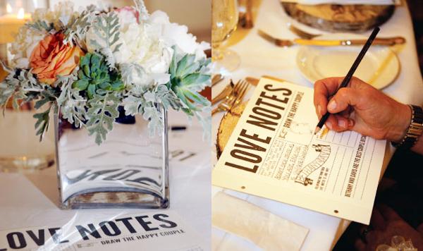 Ngoài ra, tại chỗ ngồi của mỗi khách mời, cô dâu chú rể còn đặt những tờ giấy để khách ghi lời nhắn gửi đến đôi uyên ương. Đây là cách thú vị để đôi uyên ương có được những lời chúc phúc của các vị khách.
