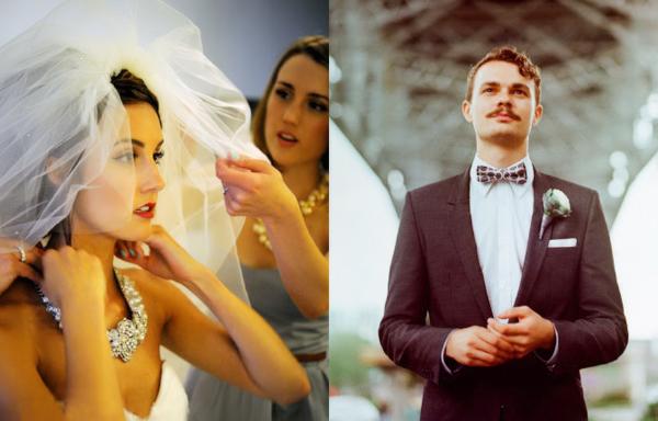Cô dâu chú rể chọn phong cách trang điểm, trang phục theo kiểu cổ điển.