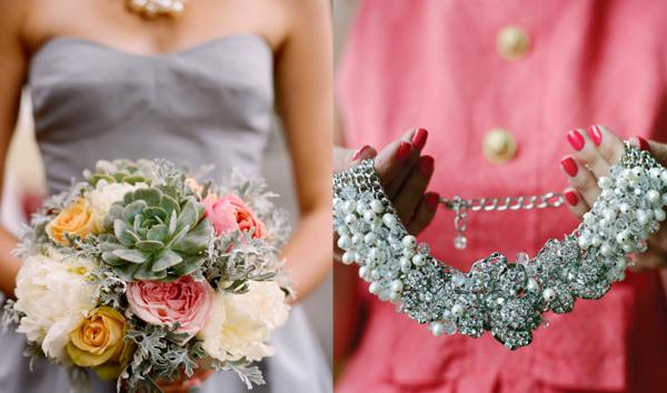 Hoa của cô dâu lại mang sắc màu rực rỡ hơn với mẫu đơn, hoa hồng và hoa hồng.