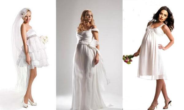 Cô dâu bầu vẫn có thể diện váy cưới ngắn trẻ trung trong mùa hè.