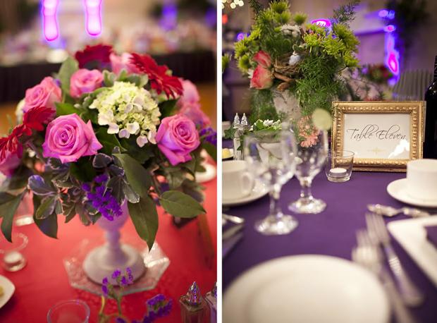 Vì mỗi bàn tiệc lại mang màu sắc khác nhau, nên hoa trên bàn tiệc cũng đa dạng, phong phú.