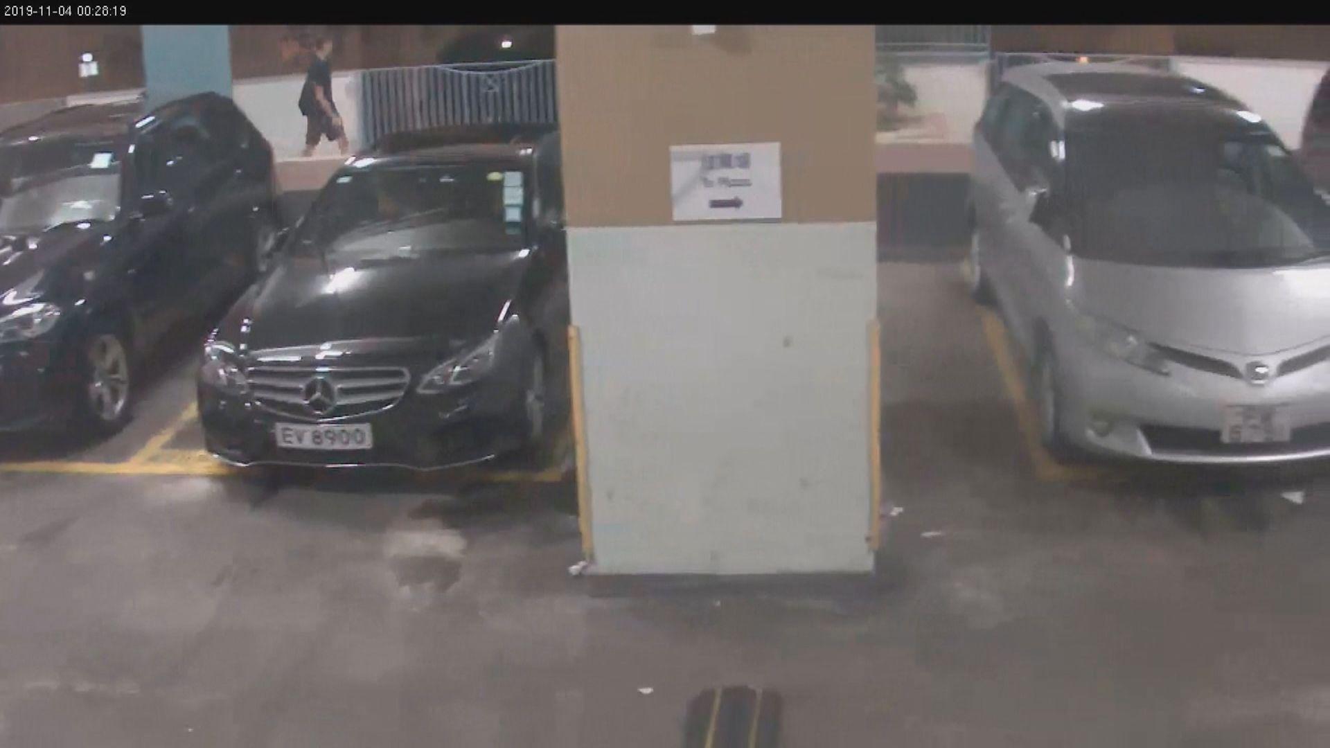 停車場閉路電視片段 見衣著與周梓樂相似男子