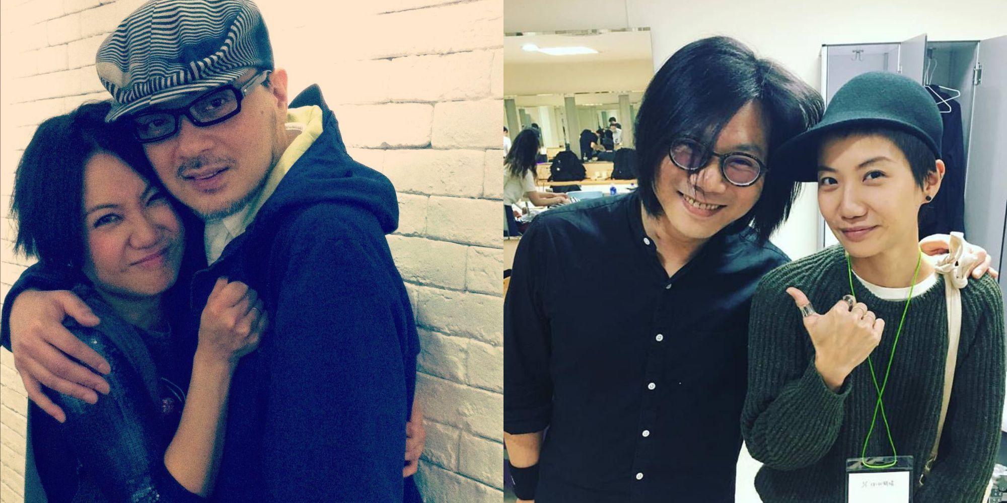 盧凱彤與許多音樂人都有好交情;左為她和視為恩師的香港歌手黃耀明,右圖是與五月天貝斯手瑪莎在演唱會後台合影。