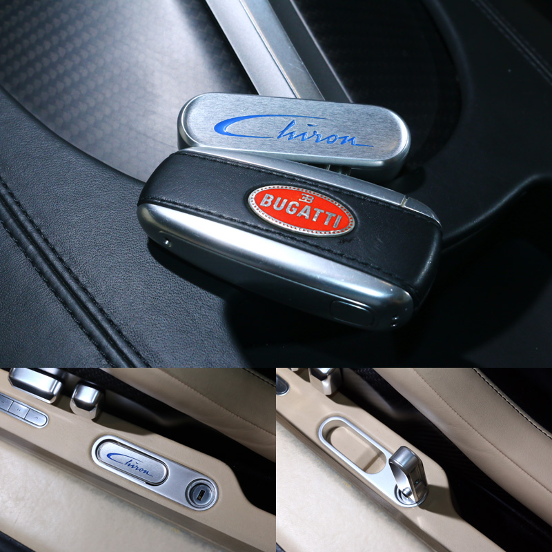 Chiron延續了Veyron傳統配有兩把鑰匙,若要將其所有性能全部釋放必須以第二把鑰匙,於駕駛座左側門檻旁鞍座的開關開啟,才能切換至TOP SPEED模式,才可挑戰420km/h的極速。