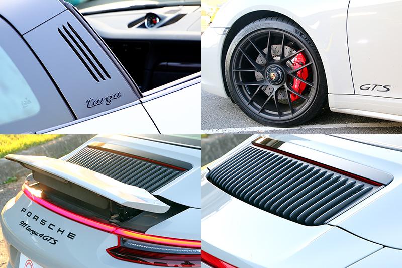 厚實的防滾桿、20吋單一鎖孔鋁圈、黑色處理車型銘牌與染色尾燈都是GTS專屬特色,而991.1與991.2世代間最容易辨別的外觀差異,就是991.2的後引擎蓋散熱孔改為直列設計。