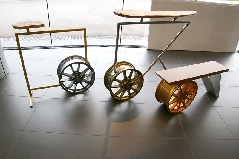 Barista – Quadrata系列是以輪圈為基礎設計的邊桌、椅凳。