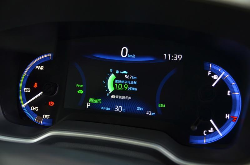 Hybrid車型的駕駛儀表已數位化,對於新世代車款而言較符合現代需求