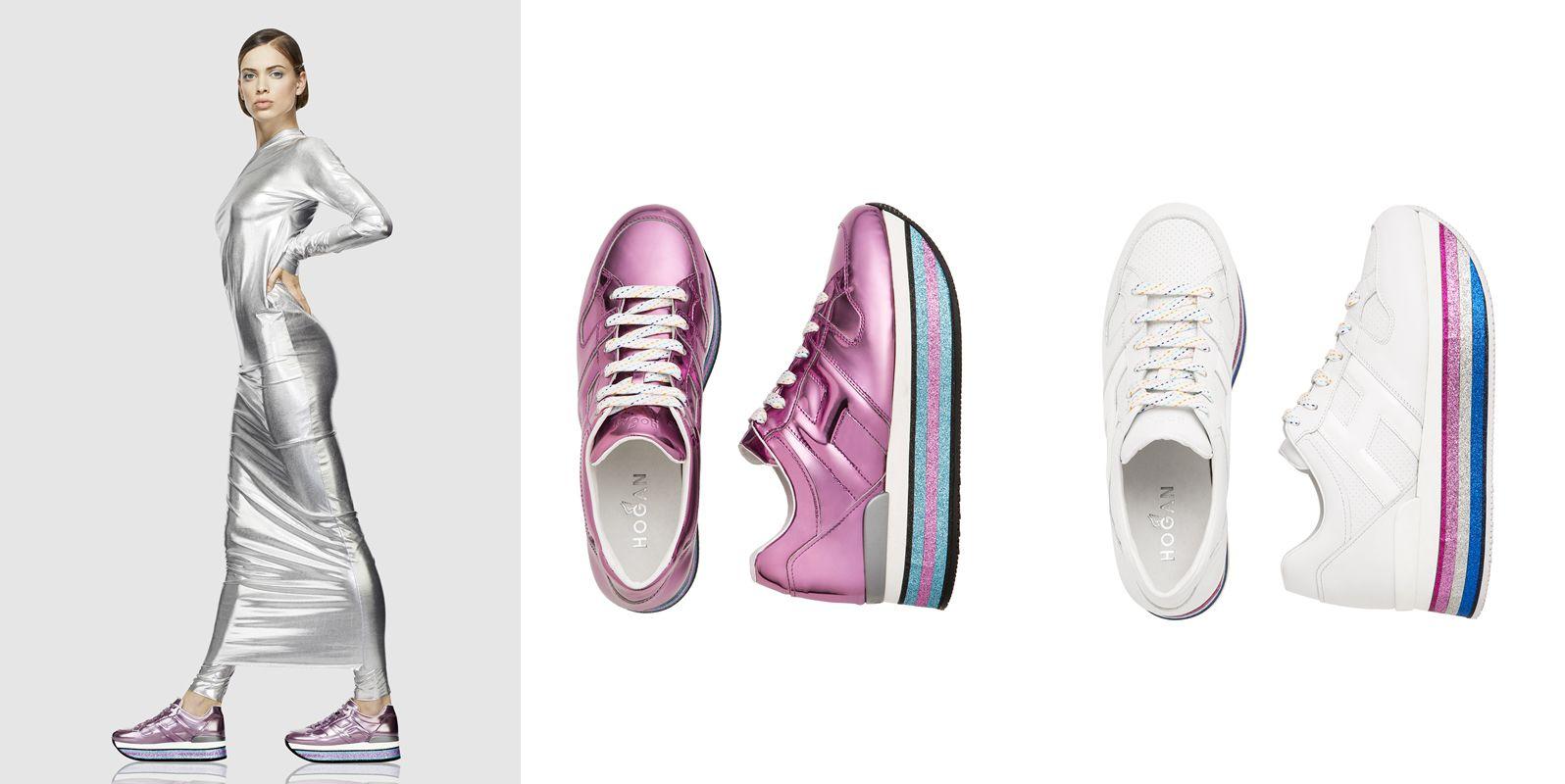 (左/中圖) HOGAN MAXI H222金屬粉色皮革休閒鞋,NTD24,600。(右圖)<span></span>HOGAN MAXI H222白色皮革休閒鞋,NTD 22,900。