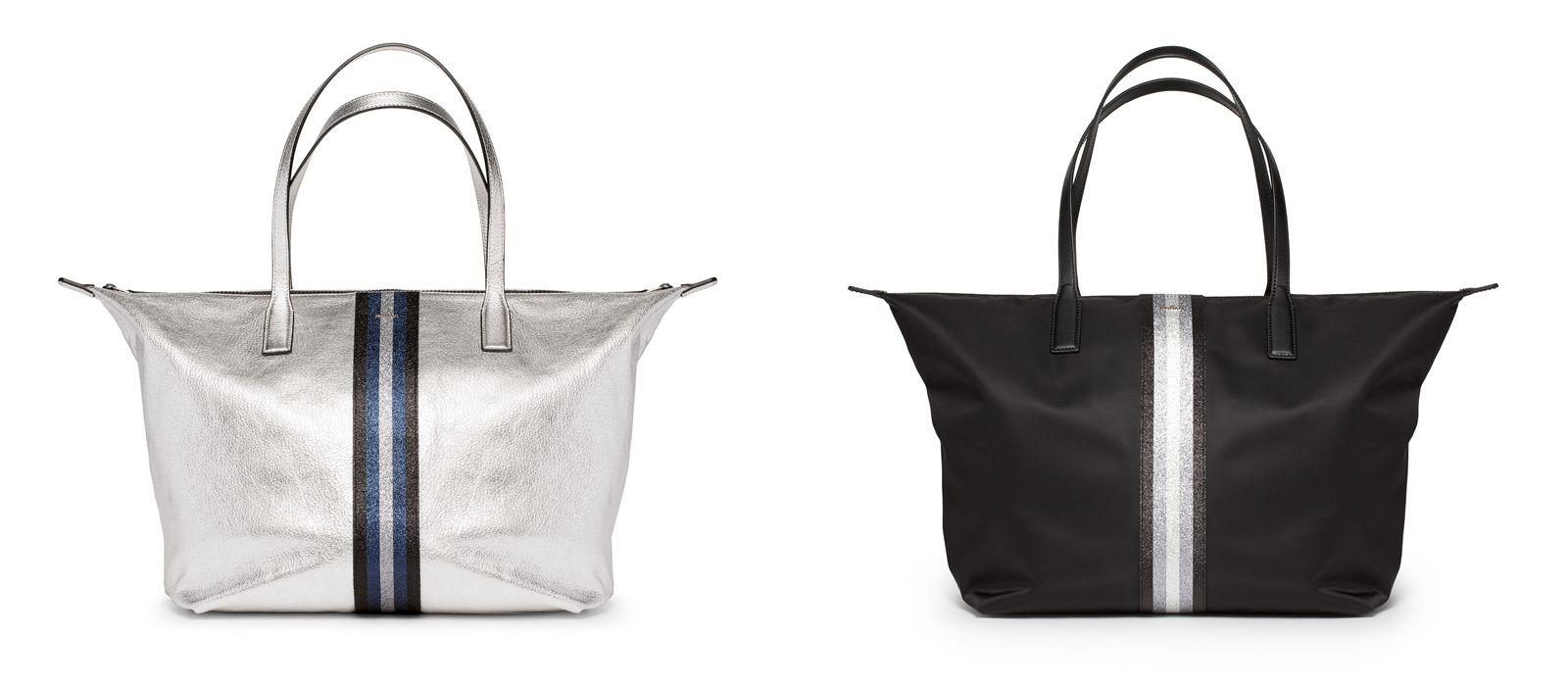 (左圖)HOGAN金屬銀色皮革托特包,NTD 16,500。 (右圖)HOGAN 黑色尼龍材質托特包,NTD 15,300。