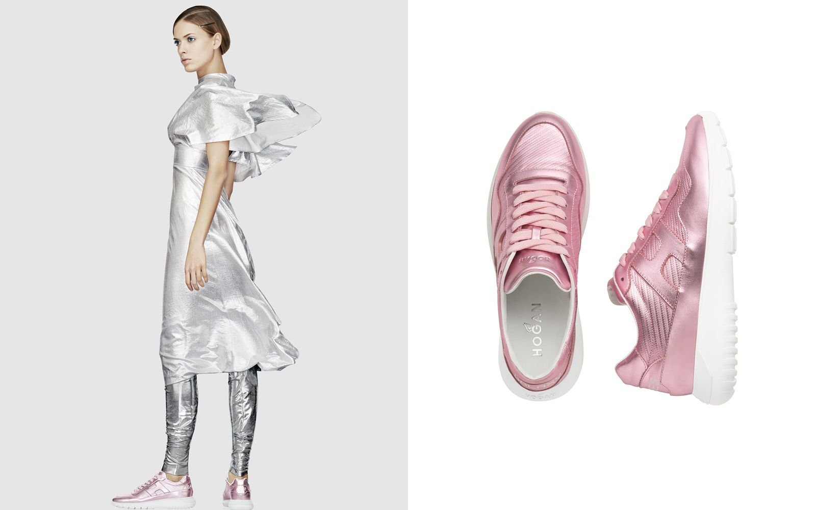 HOGAN ICUBE金屬粉色皮革休閒鞋,NTD 18,900。