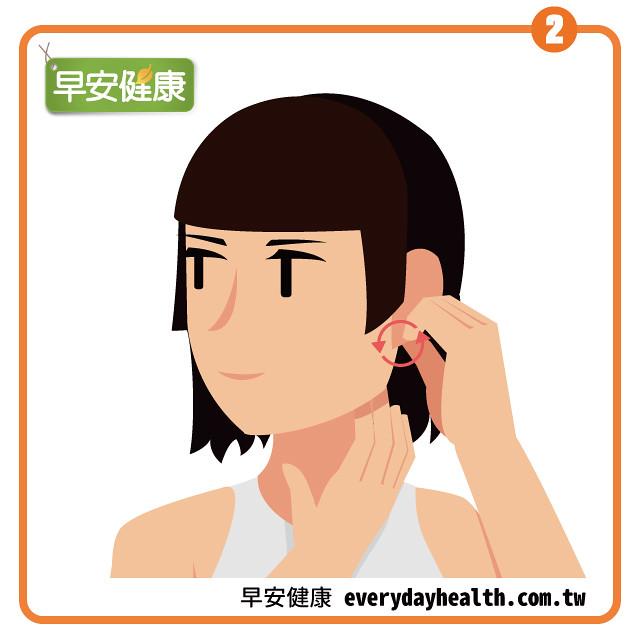 捏耳垂繞圈改善肩膀痛