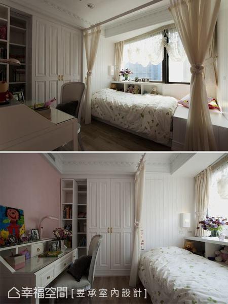 小女孩的單人房在訂製書桌上放置塗鴉,和窗邊的紗幔呼應著童心;粉色系的牆面吐露女孩心事,童稚卻不俗氣。