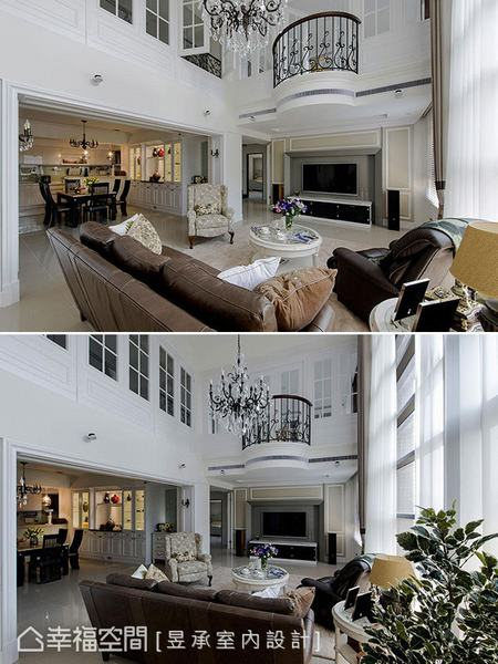 將大坪數的長輩房作減縮,使電視牆內移而形成懸空樓閣般的二樓觀景台,增添憑欄俯瞰的優雅風情。