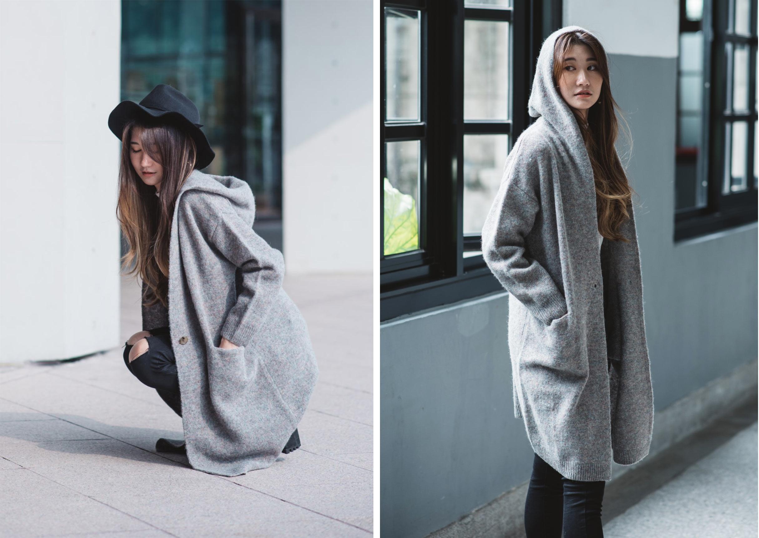 羊毛混紡針織連帽大衣2