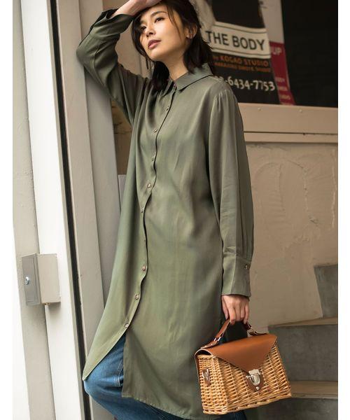 嫘縈長版襯衫式連身裙