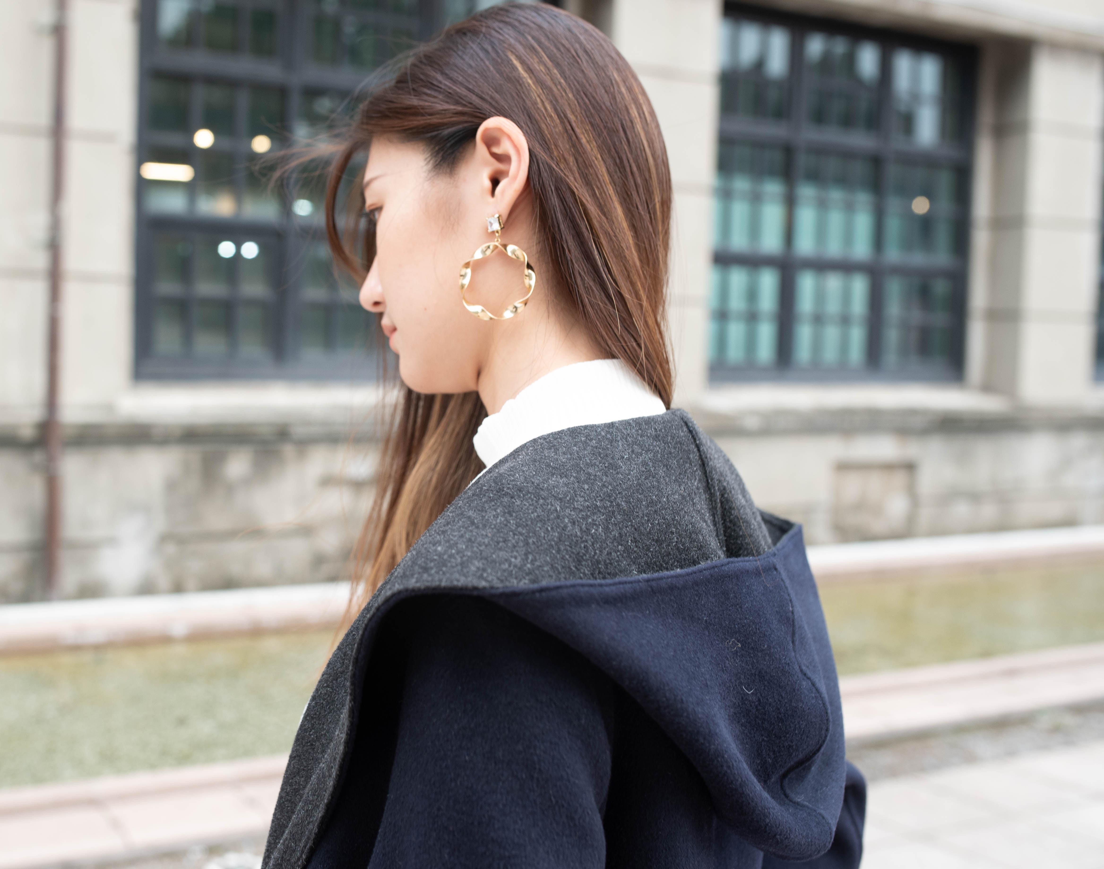 雙面織紋連帽大衣4