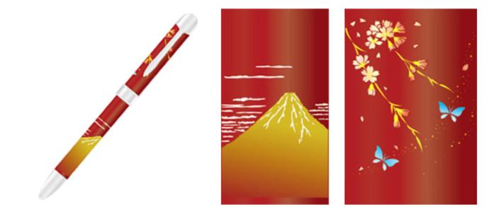 富士山蒔繪鋼珠筆 紅富士與枝垂櫻