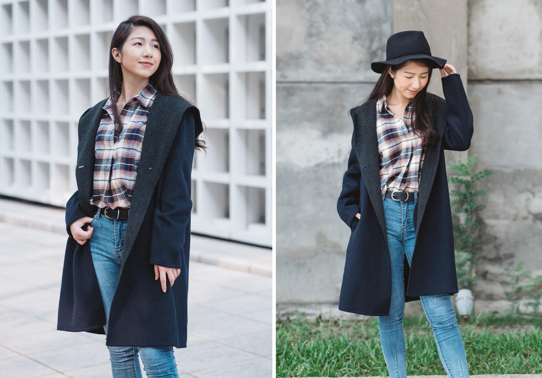 雙面織紋連帽大衣1