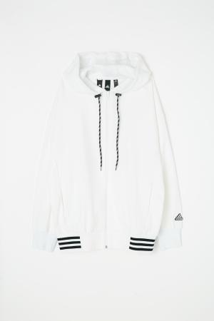 adidas&moussy共同開發聯名商品第四彈連帽外套白 hoody sweat white