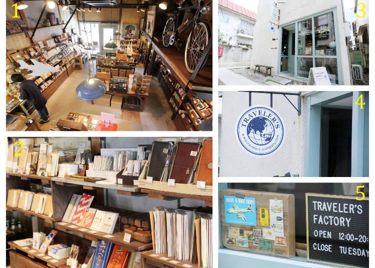 1 從樓梯往下俯瞰的店內全景 2 Traveler's Notebook的內頁補充包區 3 位處於窄巷口的Traveler's Factory 4・5 入口擺設使人聯想到旅行