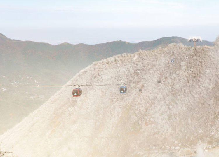 ▲大涌谷站到早雲山站中間,在硫磺蒸氣中前進