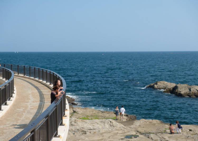 往江之島岩屋橋上,吹著涼爽海風,眺望稚兒之淵