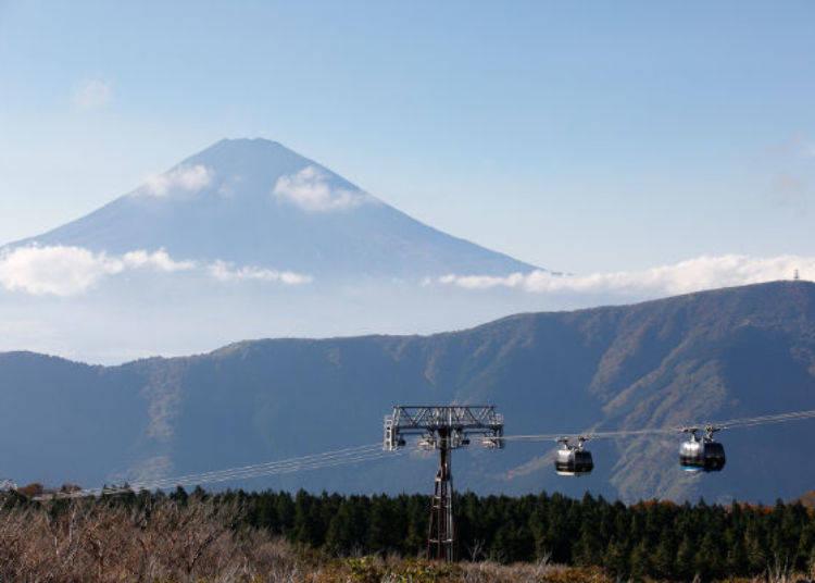 ▲視野超讚!以富士山為背景的纜車,一來一往緩緩前進