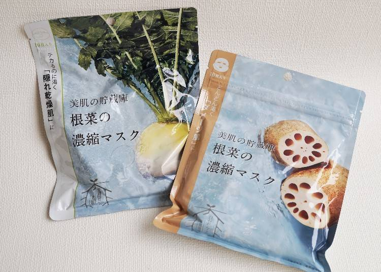 日本製:@cosme nippon/右:缺水泛油光的「隱藏性乾燥肌」適用京都產・聖護院白蘿蔔(聖護院だいこん)、左:愈來愈乾燥的「受損肌」適用佐產・白石蓮藕(白石れんこん)/各款10片裝、790日圓(不含稅)