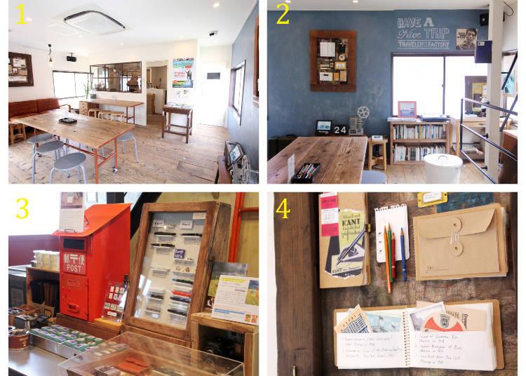 1 2樓當作咖啡廳的空間 2 採用木製地板與鐵架的獨特室內擺設 3 位於一樓最裡邊,明信片及印章的小角落 4 訂製筆記本的範本