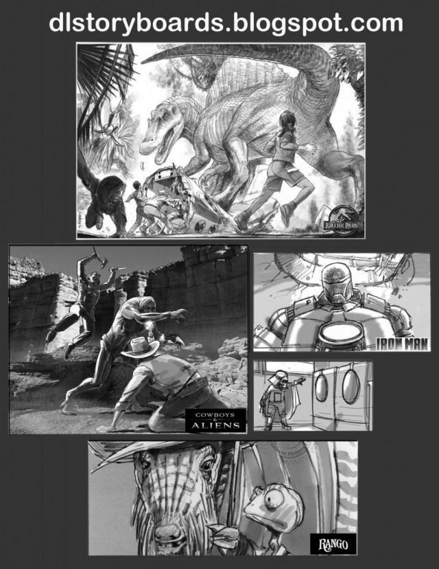 戴夫勞瑞表示,分鏡插畫家的工作是把文字視覺化,用分鏡圖替導演建構世界觀。 (翻攝自dlstoryboards.blogspot.com)