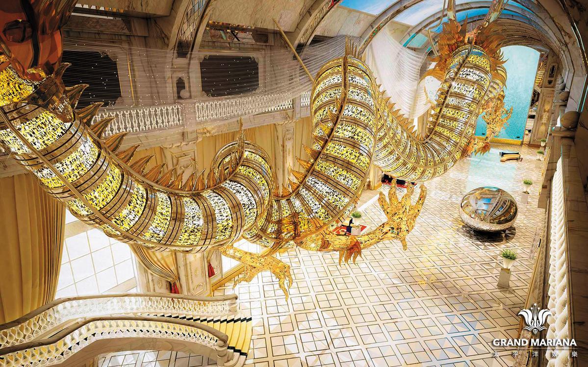 紀曉波母親崔麗杰在塞班島投資興建的8星級博華塞班度假村酒店,吳佩慈送出新台幣40多億元的2隻巨龍當開幕賀禮。(翻攝自博華塞班酒店官網)