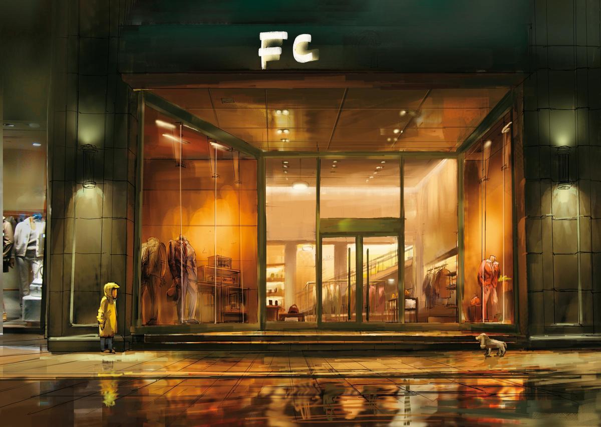 《黑屁股》街頭雨景的手繪概念圖,依圖式進一步製作動畫完整場景。(A-hha Studio提供)