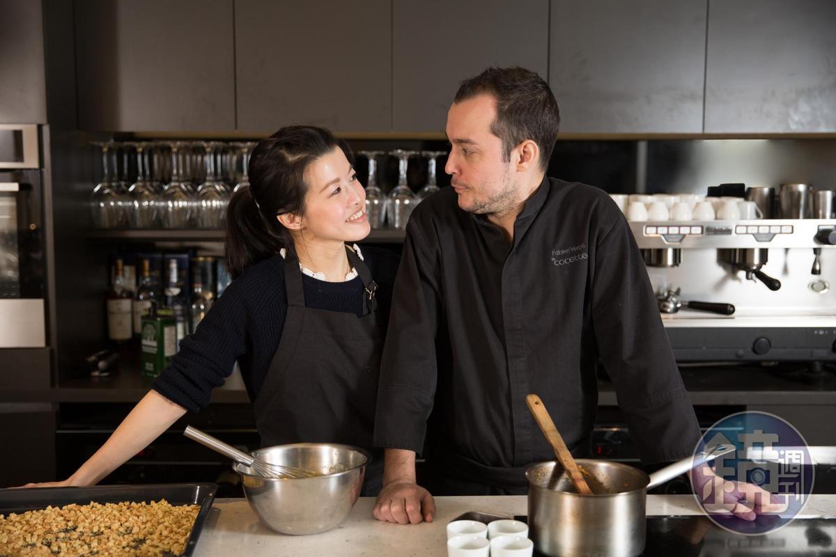 Fabien和台灣妻子管乃茵豪情甜美。