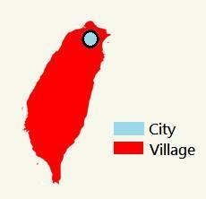 網友大搞創意,自製KUSO圖,將台北市與其他地方二分為「都市/鄉村」。(翻攝網路)