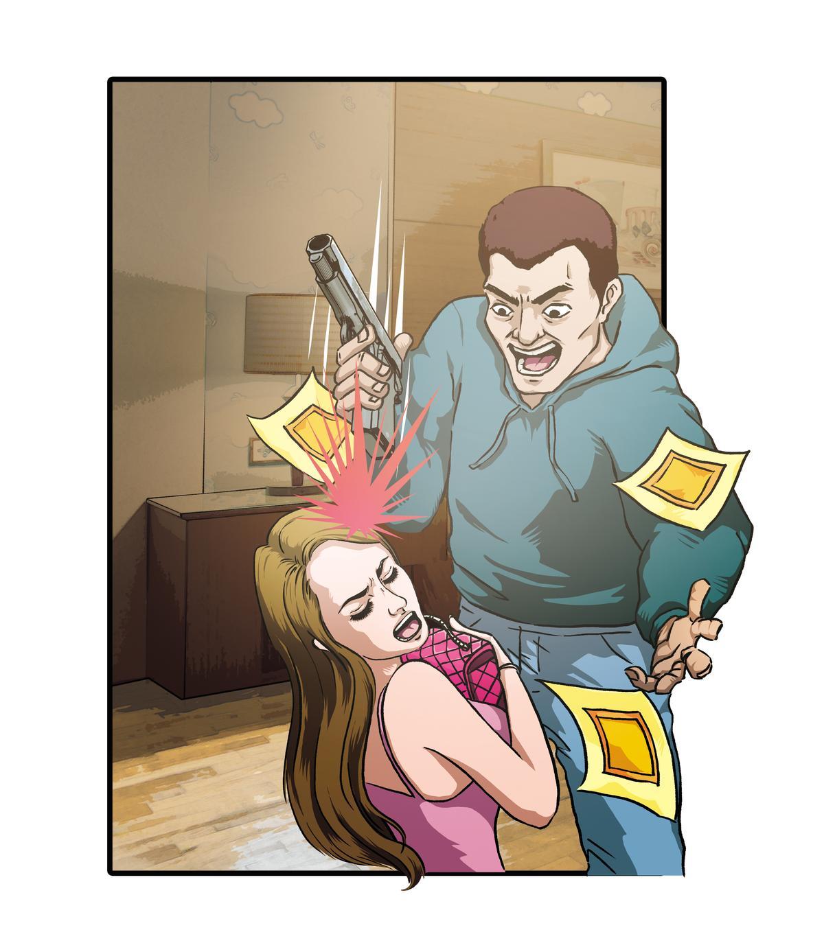搶匪一進門就拿槍抵住賣淫女子,將賣淫女身上的現金洗劫一空。