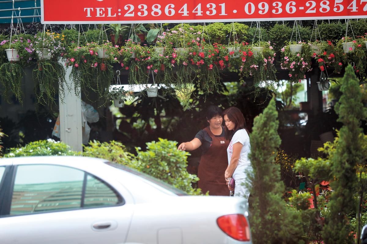 盛女自貓坑離開後,獨自開車前往園藝店,逛了許久才滿意地提了3大袋植栽走人。